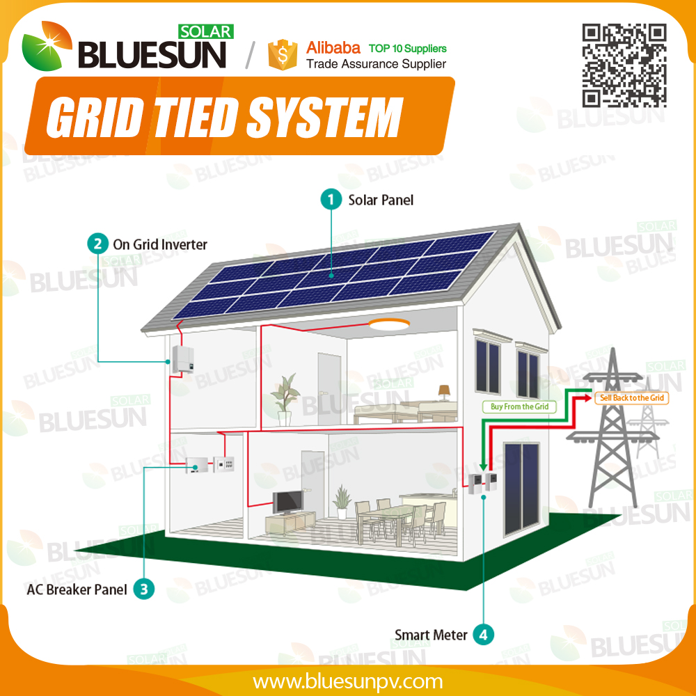 Long life easy maintenance solar power system home 6KW grid tied used for house